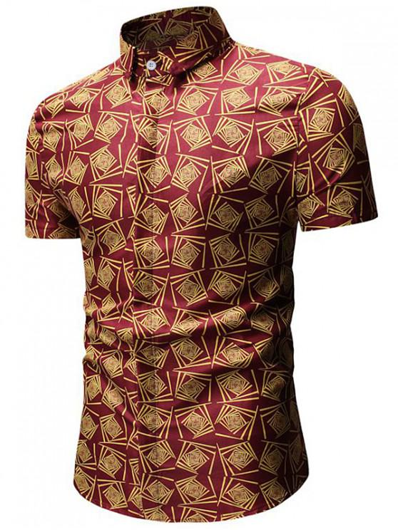 fancy Geometric Print Short Sleeve Shirt - RED L