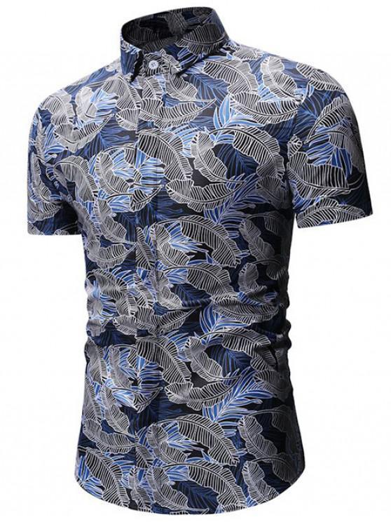 Chemise Boutonnée Feuille Tropicale Imprimée - Bleu 3XL