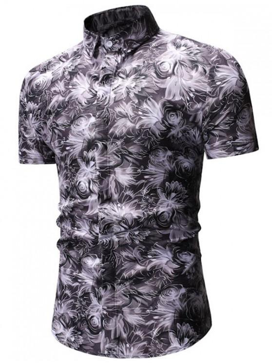 Blumendruck Button Up Shirt - Grau M