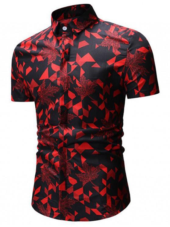 Chemise Boutonnée Géométrique Imprimée - Rouge 3XL
