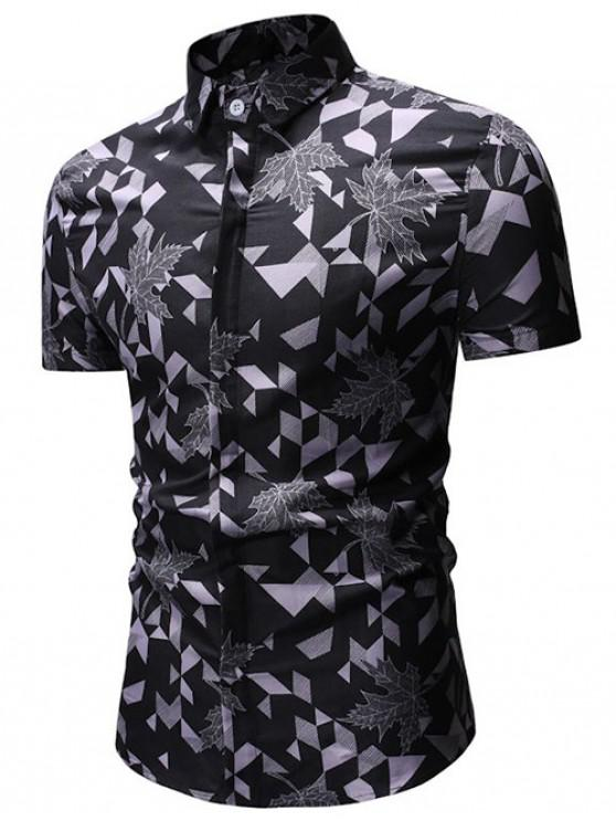 fancy Geometric Print Button Up Shirt - GRAY M
