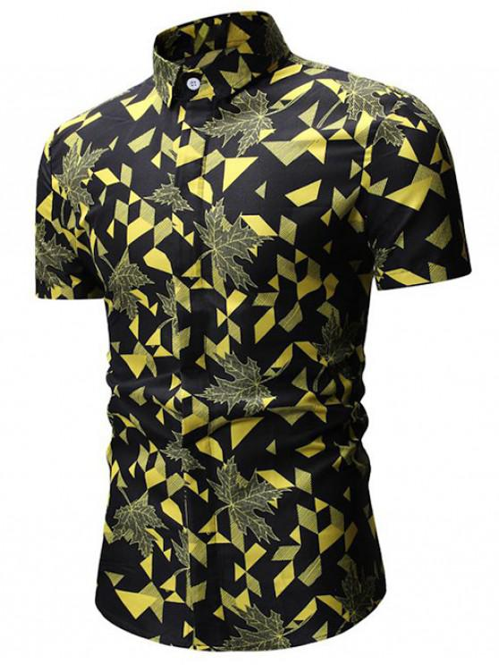 online Geometric Print Button Up Shirt - YELLOW L