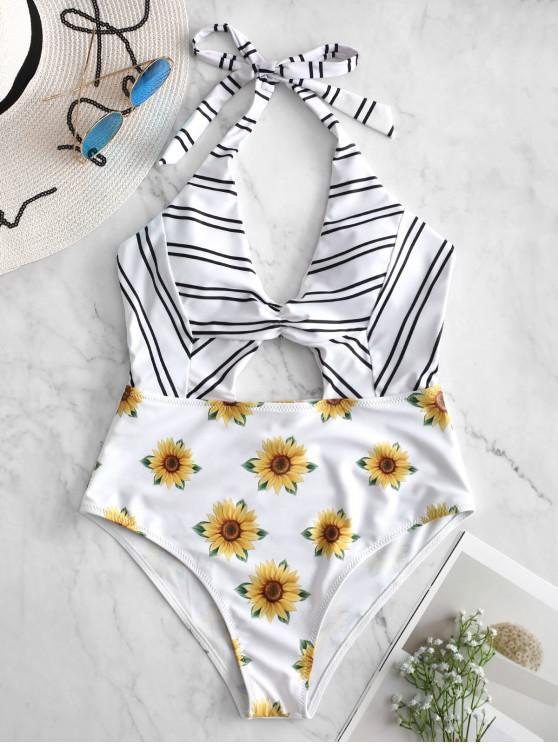 chic ZAFUL Striped Sunflower Cutout Halter Swimsuit - WHITE S