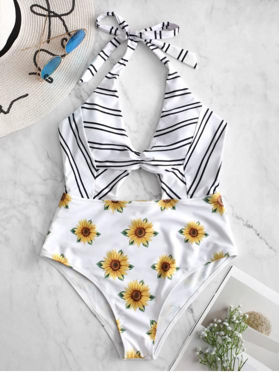 ZAFUL Striped Sunflower - Neckholder-Badeanzug mit Ausschnitt - Weiß M