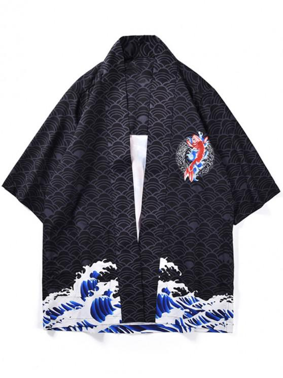 latest Fish Waves Print Kimono Cardigan - BLACK M