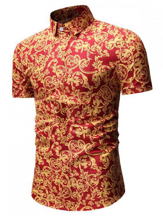 women Leaf Print Button Up Shirt - RED 3XL