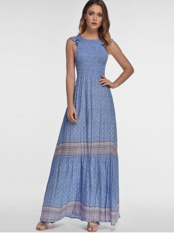 Zaful Maxi Vestido Bohemio De Vacaciones De Impresión Cornflower Blue