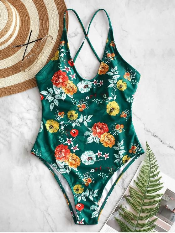 fashion ZAFUL Lace Up Backless Flower Swimsuit - MULTI-A S