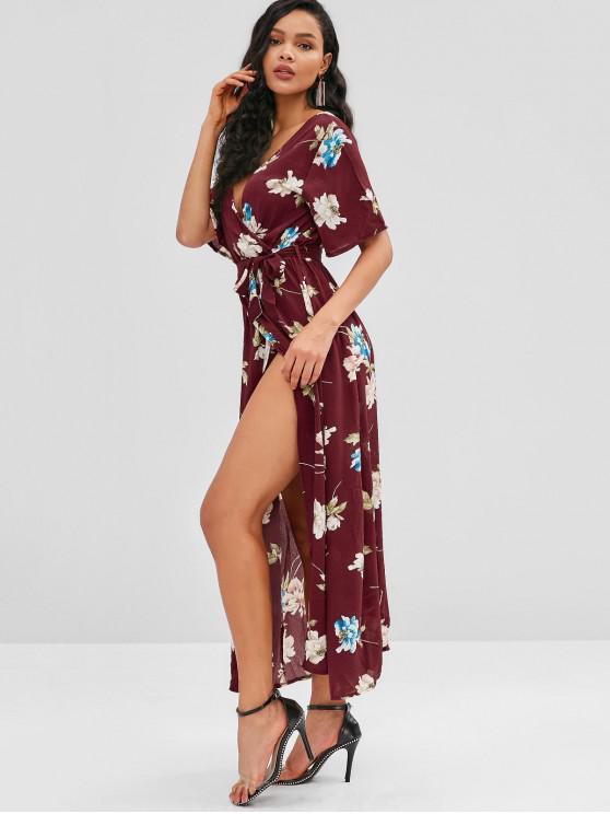 ladies Front Slit Flower Print Maxi Dress - RED XL