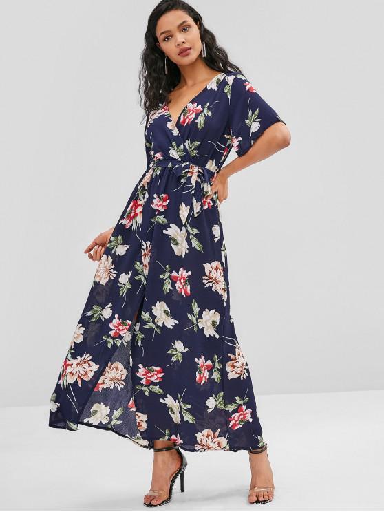 fancy Front Slit Flower Print Maxi Dress - DEEP BLUE L