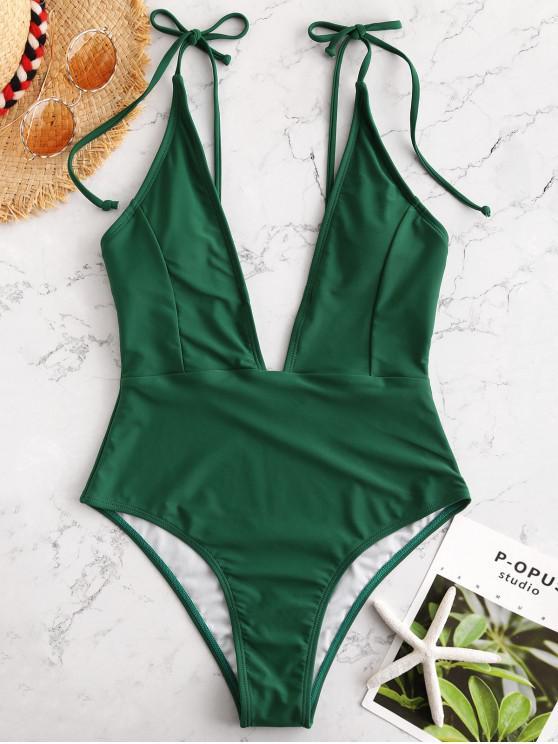 buy ZAFUL Tie Shoulder Backless Swimsuit - MEDIUM SEA GREEN L