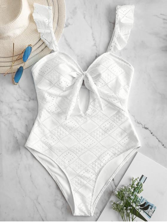 lady ZAFUL Openwork Frilled Cut Out Swimsuit - WHITE M