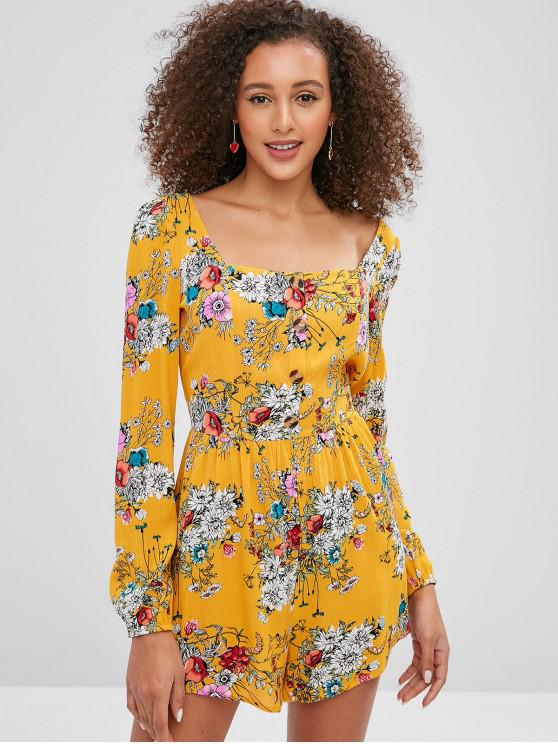 chic ZAFUL Floral Square Neck Casual Romper - BEE YELLOW XL