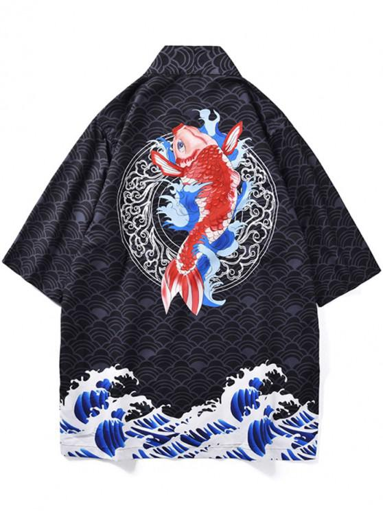 trendy Fish Waves Print Kimono Cardigan - BLACK L
