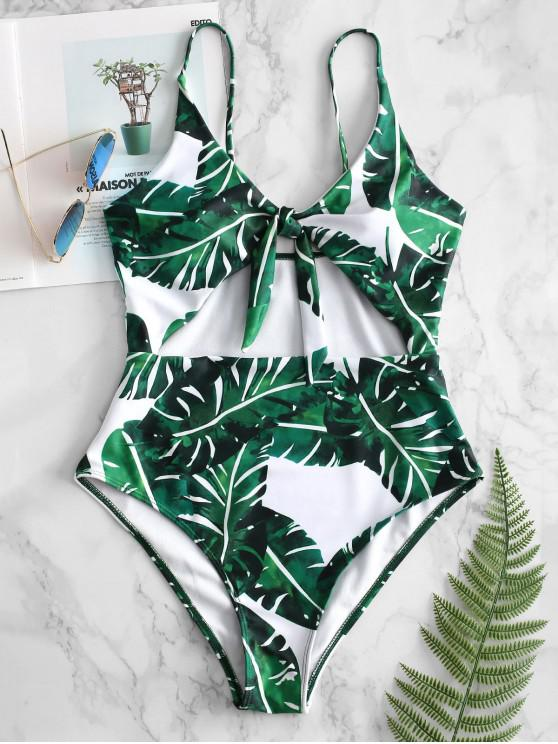 ladies ZAFUL Cutout Knot Tropical Leaf Swimsuit - WHITE L
