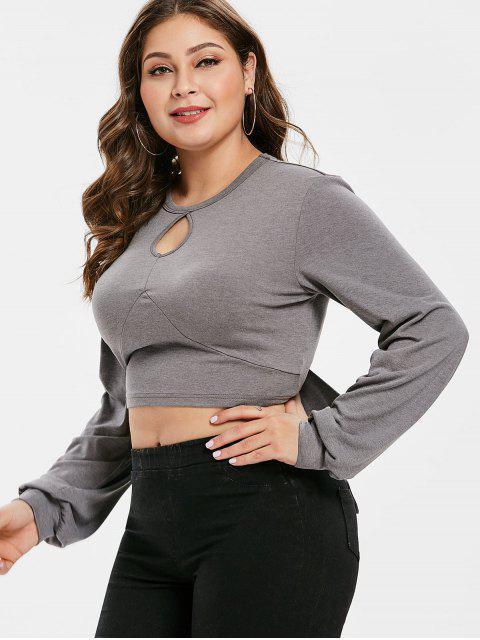 women's ZAFUL Keyhole Plus Size Crop Knot Tee - BATTLESHIP GRAY 2X Mobile