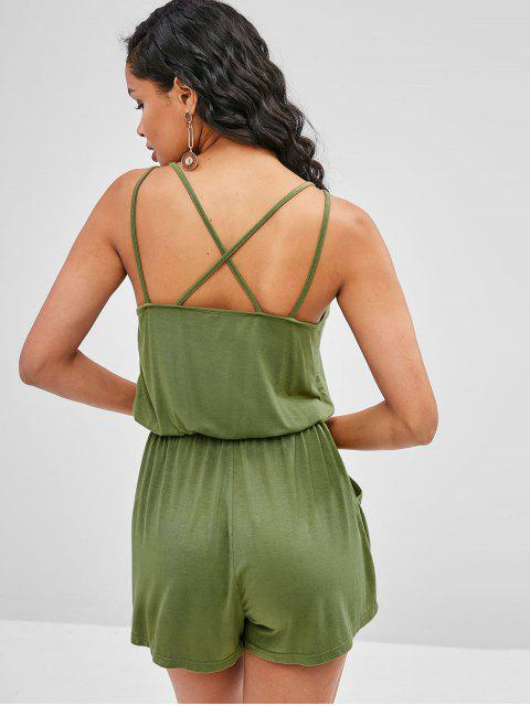 buy ZAFUL Criss Cross Cami Romper - ARMY GREEN L Mobile