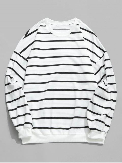 shop Casual Striped Elastic Long Sleeve T-shirt - WHITE M Mobile