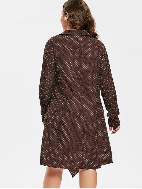 chic ZAFUL Plus Size Polka Dot Front Knot Dress - PUCE 1X Mobile