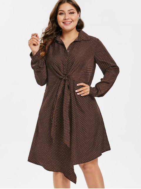 unique ZAFUL Plus Size Polka Dot Front Knot Dress - PUCE 2X Mobile