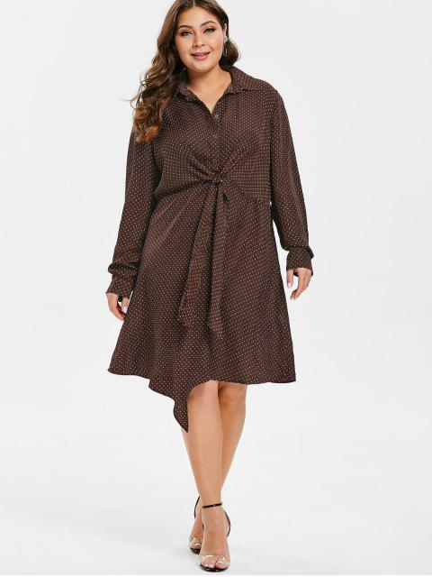 sale ZAFUL Plus Size Polka Dot Front Knot Dress - PUCE 3X Mobile