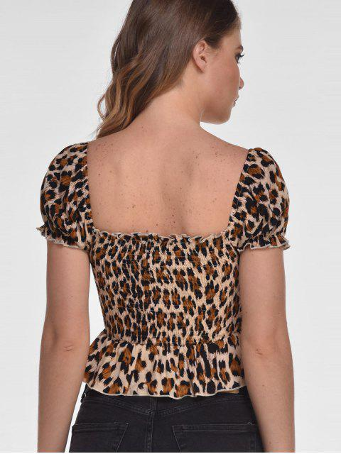 chic ZAFUL Smocked Leopard Graphic Peplum Tee - LEOPARD M Mobile