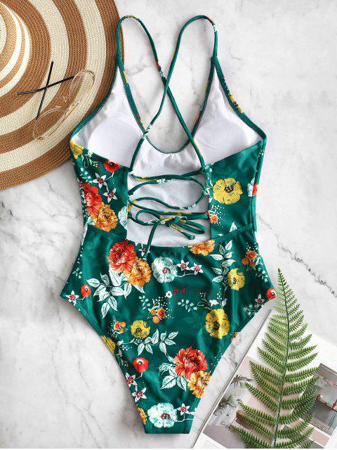 chic ZAFUL Lace Up Backless Flower Swimsuit - MULTI-A M Mobile