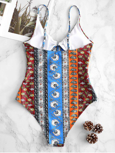ZAFUL Retro nudo estampado corte traje de baño - Multicolor-A L Mobile