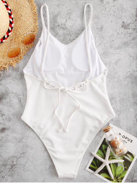 outfit ZAFUL Ribbed Backless Cami Swimsuit - WHITE S Mobile