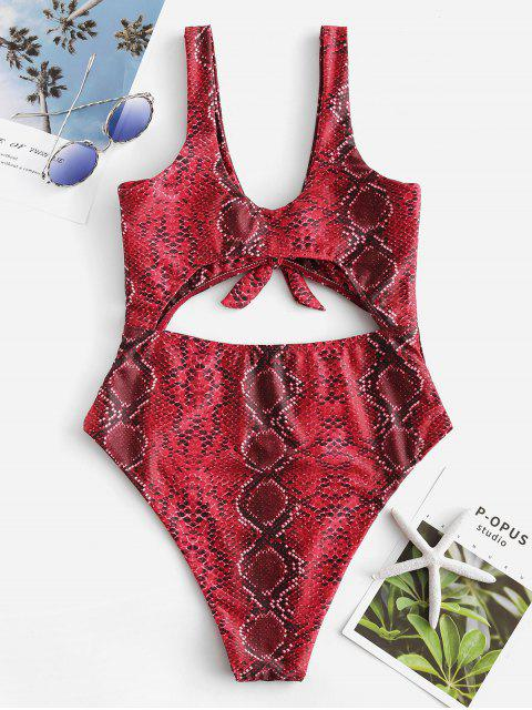 best Knotted Snakeskin Cut Out Swimsuit - RED WINE M Mobile