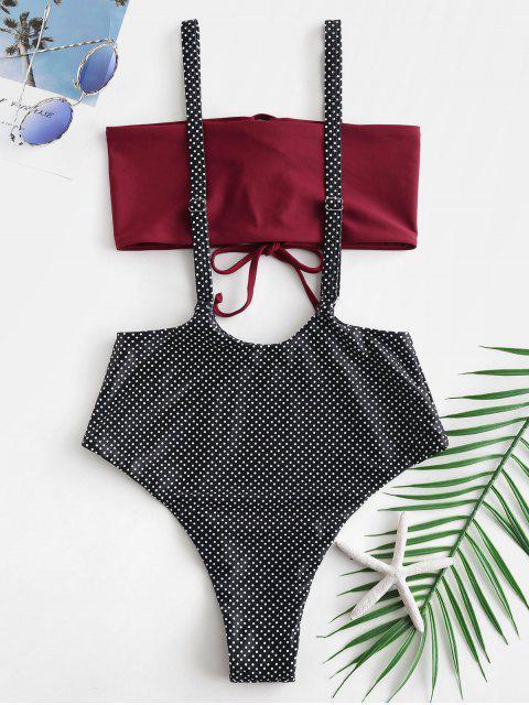 Bikini a Pois con Lacci di ZAFUL - Multi Colori-A XL Mobile