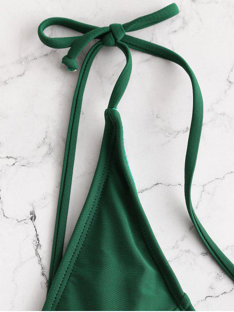 womens ZAFUL Tie Shoulder Backless Swimsuit - MEDIUM SEA GREEN XL Mobile