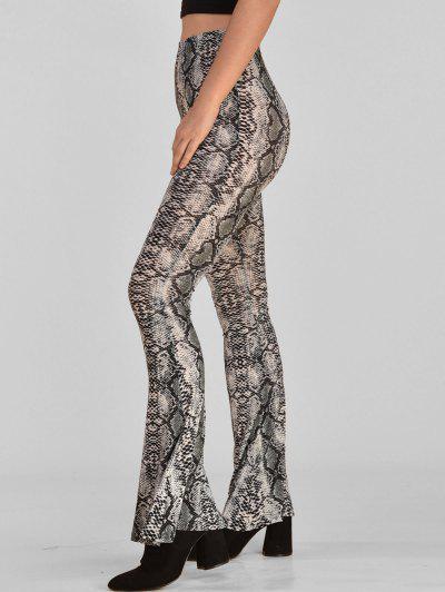 ee8f3a503a9 ... ZAFUL High Rise Snake Print Flare Pants - Multi S