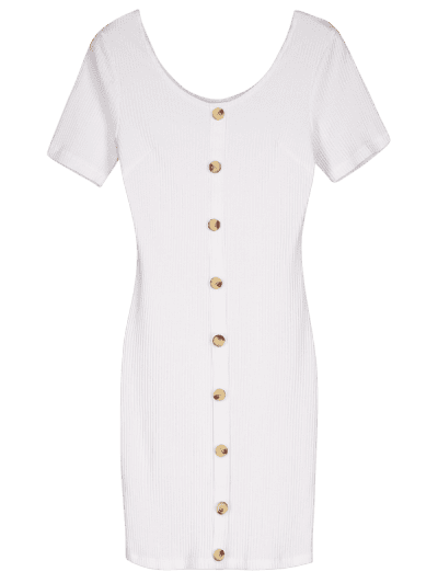 Contrasting Buttons Ribbed Mini Bodycon Dress, White