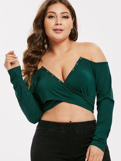 3a8964da93f ZAFUL Plus Size Cross Off Shoulder Crop Tee - Dark Green L ...