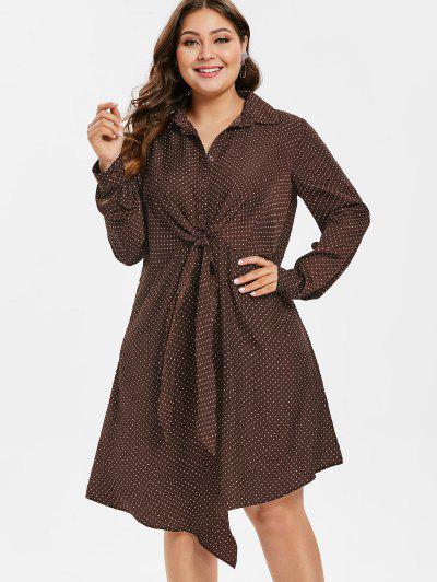 923d668595b Conful Plus Size Polka Dot Front Knot Dress - Puce L ...