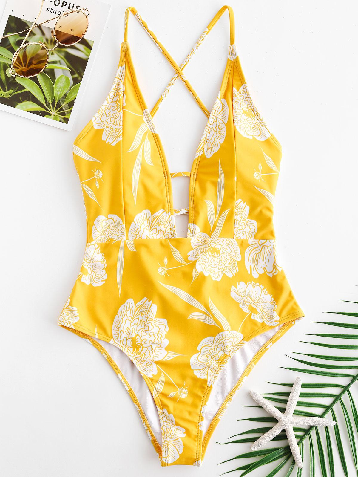 ZAFUL Flower Lace Up Backless Swimsuit, Rubber ducky yellow
