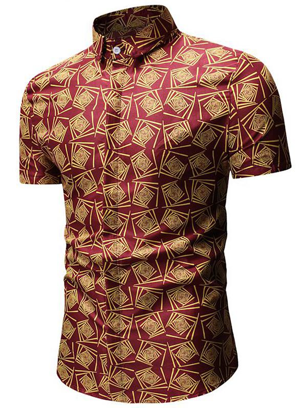Geometric Print Short Sleeve Shirt, Red