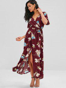 719f77cd93 29% OFF   HOT  2019 Front Slit Flower Print Maxi Dress In RED