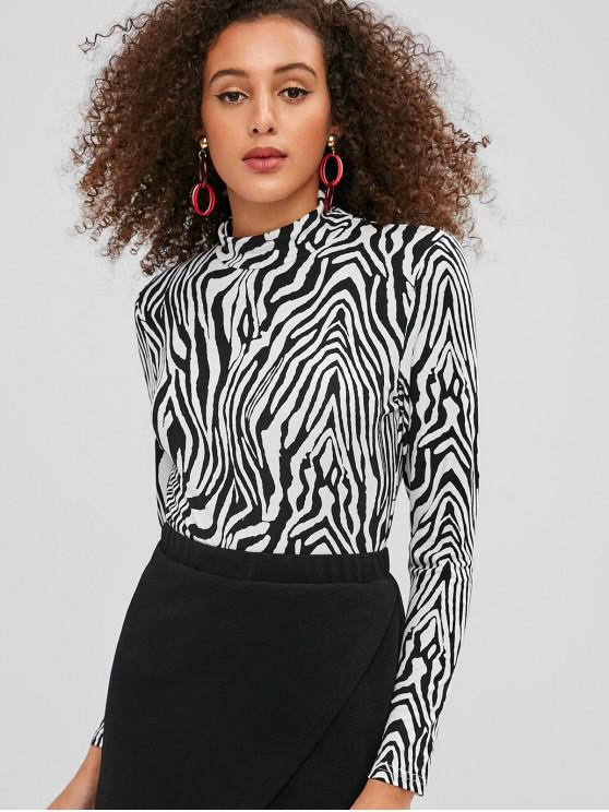 women's ZAFUL Zebra Print High Neck Tee - MULTI M