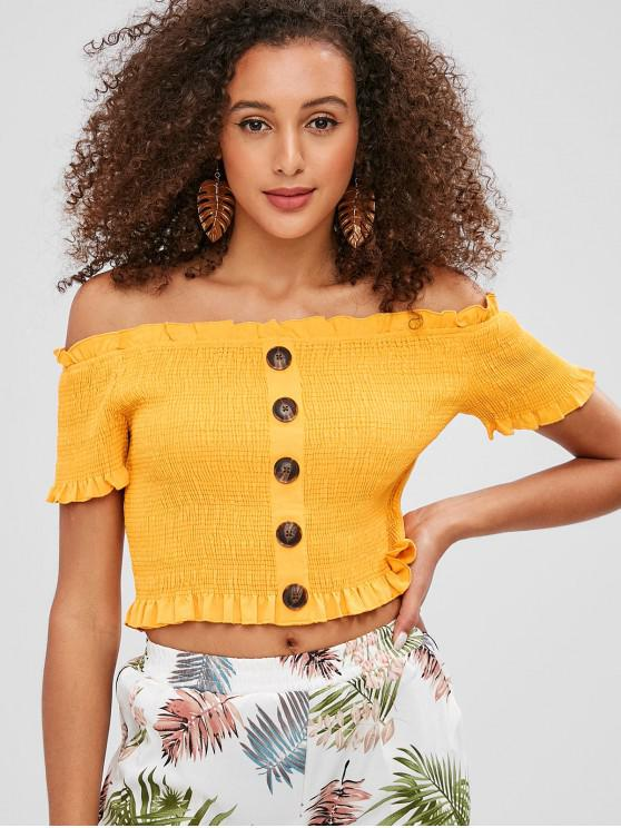 shop ZAFUL Buttons Embellished Smocked Crop Blouse - BEE YELLOW S