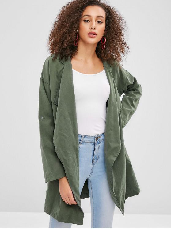 trendy Longline Pockets Open Front Coat - ARMY GREEN M
