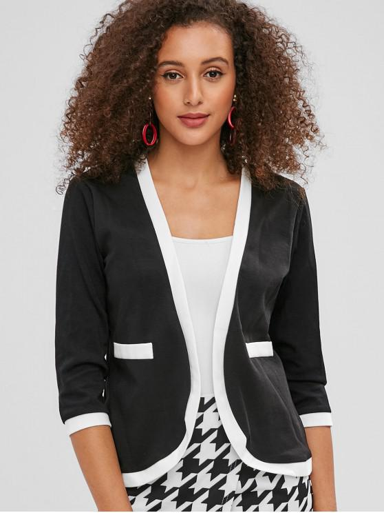 womens Faux Pockets Open Front Jacket - BLACK L
