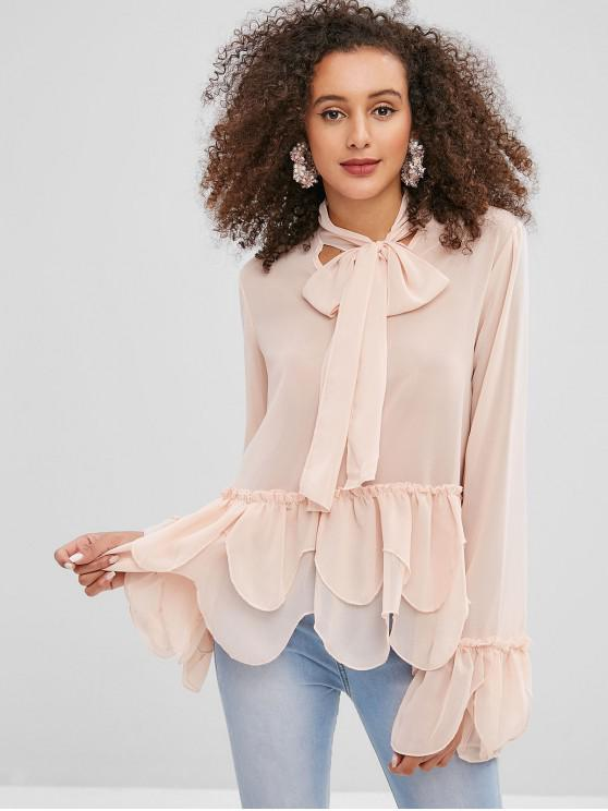 chic Tie Neck Flare Sleeve Frill Peplum Blouse - ORANGE PINK XL