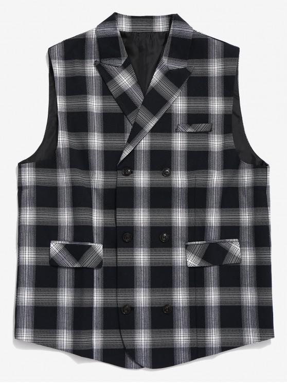 fancy Double Breasted Plaid Waistcoat - BLACK XS