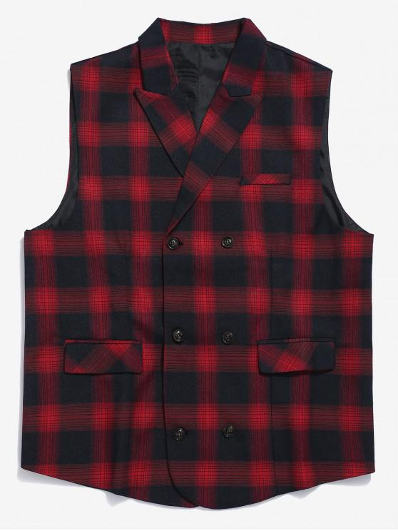 affordable Double Breasted Plaid Waistcoat - RED XS