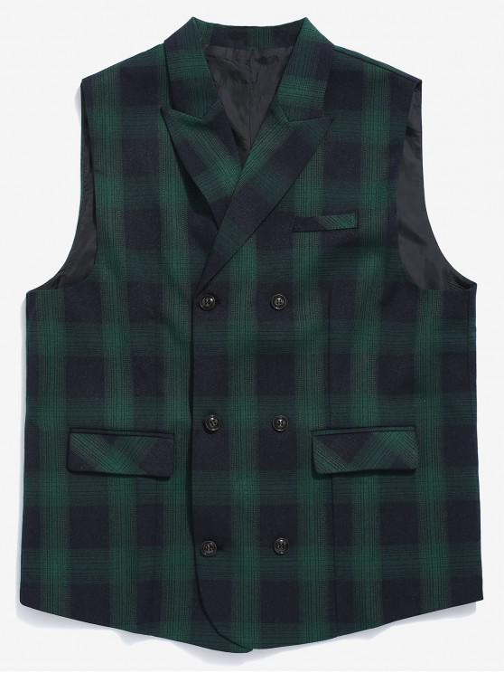 women's Double Breasted Plaid Waistcoat - MEDIUM SEA GREEN S