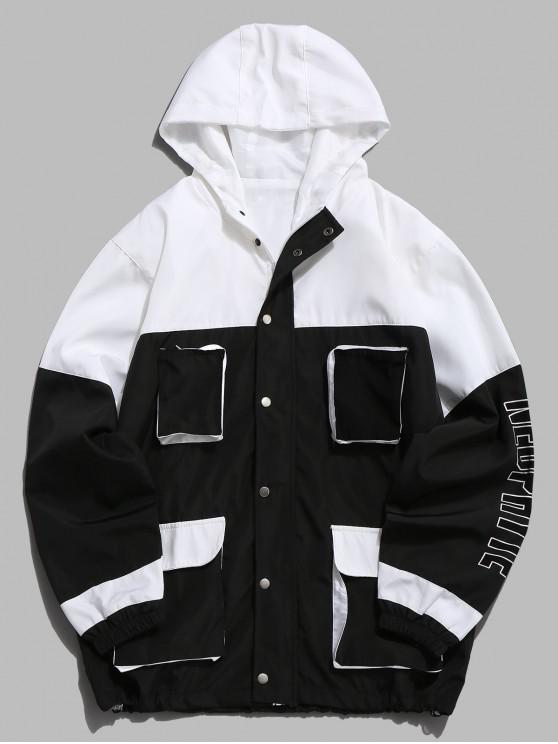 unique Two Tone Letter Pockets Jacket - BLACK 2XL