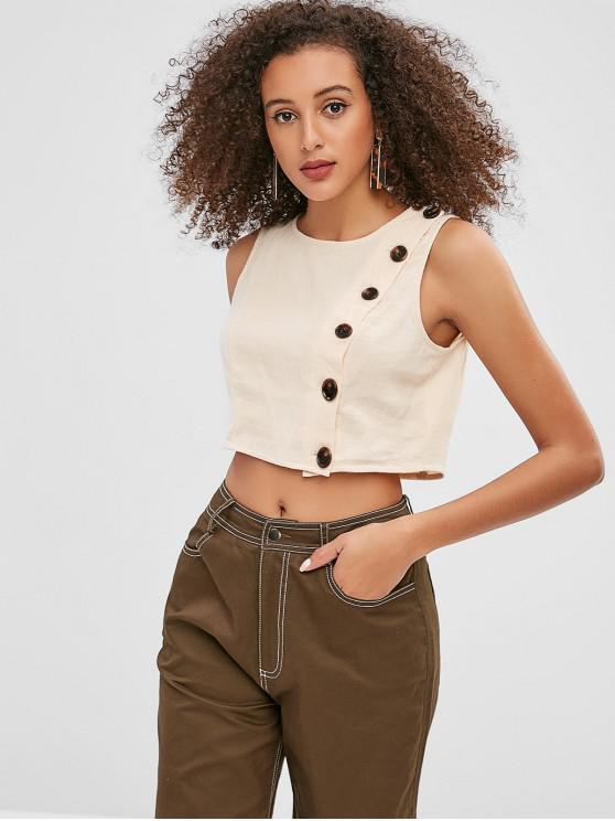 outfit ZAFUL Buttoned Crop Tank Top - BLANCHED ALMOND L