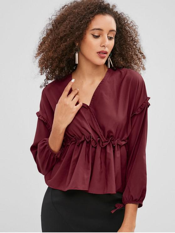 unique Ruffles V Neck Skirted Blouse - RED WINE S